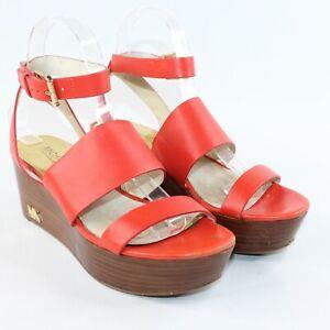 Michael Kors Womens Sz 7 Camilla Platform Wedge Ankle Strap Open Toe Sandals