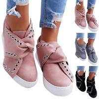 Womens Hidden Heel Wedge Ankle Boots Bow Flat Sneakers Trainers Comfy Shoes Size