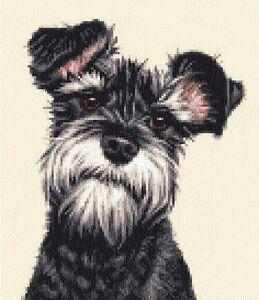 MINIATURE SCHNAUZER dog, pup -  Full counted cross stitch kit *Jann Designs
