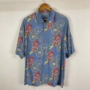 Tommy Bahama Mens Silk Button Up Shirt Size XL Blue Paisley Short Sleeve