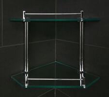 Glass Shelf Double Corner Solid Brass Classic Cubic Chrome Bathroom Accessory