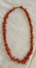 "Antique 19"" Coral Short Branches Bead Necklace Un-dyed Salmon Color - Old Clasp"