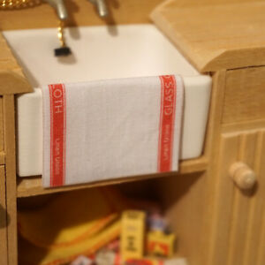Dolls House Miniature 1/12th Scale Tea Towel - Red (466)