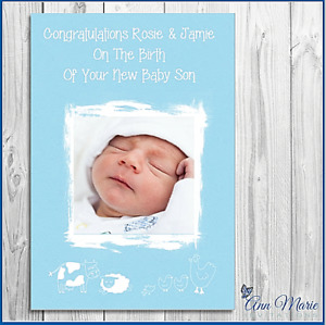 PERSONALISED PHOTO NEW ARRIVAL CARD CONGRATULATIONS BABY BIRTH SON WELL DONE