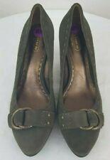 COACH DINAH NWOB Womens Green Suede Stiletto Pumps Buckle Strap Size 8.5 B