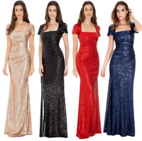 Goddiva Sequin Square Neck Evening Maxi Gown Dress Prom Party Ball Bridesmaid