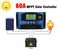 12V-24V MPPT 60A Solar Panel Regulator Charge Controller Auto Focus Dual USB