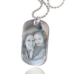 Personalised Sterling Silver Pendant Photo Engraved Military Dog Tag & Necklace