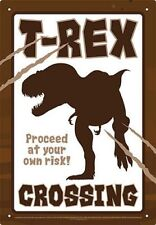 T-REX CROSSING - 8 x 11.5 TIN SIGN - BRAND NEW - DINOSAUR 30206