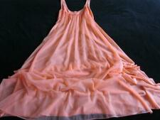 """Vintage Vanity Fair Gown 32-34"""" Lacy Coral Nylon + Chiffon Nightdress 100"""" Sweep"""