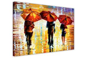 AT54378D 3 Umbrellas By Leonid Afremov Canvas Pictures Wall Art Prints Landscape