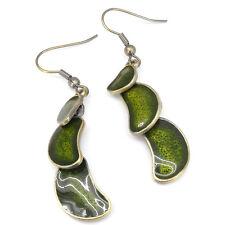 Tribal Ethnic Earrings Aztec Drop Dangle Costume Jewel Enamel Green French Hook