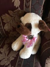 "13"" Plush Cream Bull Dog w/Pink ""Love Puppy"" Bow - NWT"