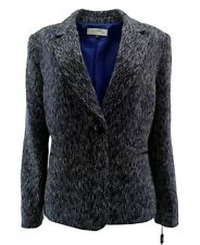 Tahari Arthur S. Levine Womens Blazer 16 Tweed Black Blue Lined Career $139 New