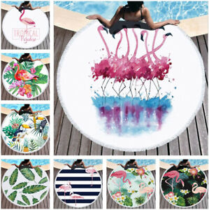 Tropical Leaves Flamingo Round Tassels Beach Towel Microfiber Picnic Blanket New