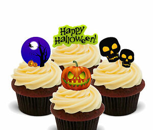 Halloween Party - Edible Cup Cake Toppers, Standup Fairy Bun Decorations
