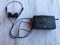 VTG GE AM/FM Max Bass Stereo Cassette Player Walkman Radio Headphones 3-5468