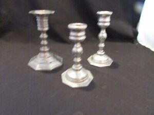 SET OF THREE (3) Vintage Pewter Candlestick Holders 1 FROM ITALY ALL 3 1 PRICE