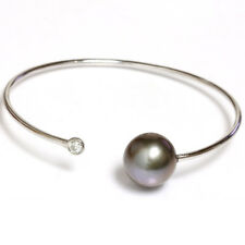 "Diamond Tahitian South Sea Bangle Cuff Pearl Bracelet14k Gold  6""3/4 13mm"