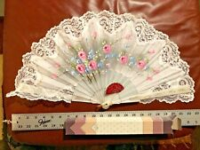 Big Vintage Abanicos Giner Spanish Hand Painted Folding Fan Artist Signed Spain