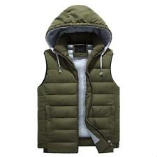 Mens Hooded Vest Sleeveless Warm Waistcoat Cotton padded Jacket outwear hot sale