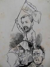 Original Christopher Davis Caricature Portrait c1886 - Politician/Flag of Judah?