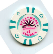 1.00 Casino Chip from the Hollywood Casino Aurora Illinois Teal Inserts