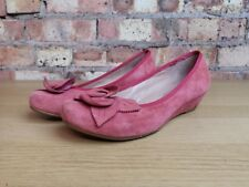 HOTTER Comfort Wedge Heel Red Pink Suede Womens Shoes Flower Size 5 UK