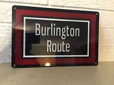 """Burlington Route Aluminum Fallen Flag Train Sign New DL 8""""x12"""""""