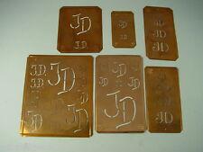 6 x JD Merkenthaler Monogramm, Kupfer Schablonen, Stencils, Patrons broder