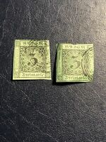 German States Baden Germany 2 Pcs Stamp 1853 3kr Scott # 7 Mi 6 ,Used