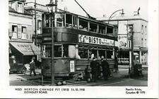 Pamlin photo postcard M525 London Tram Merton Change Pit Longley Road 1950