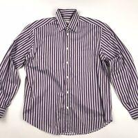 Brioni Mens Button Front Shirt Collared Large L Purple Stripe