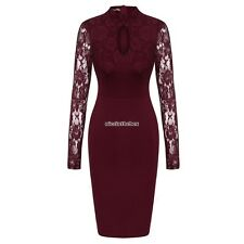 Women's Stand Collar Lace Long Sleeve Bodycon Cocktail Party Pencil Dress N98B