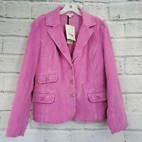 J. Jill Womens Small Petite Pink Corduroy 3 Button Stretch Blazer Jacket