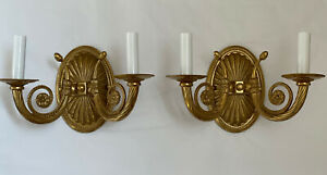 Pair Stately Bronze Brass Italian French Horn Double Arm Wall Sconce Sconces