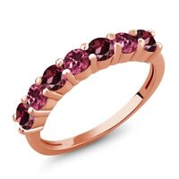 1.33 Ct Red Rhodolite Garnet Pink Tourmaline 18K Rose Gold Plated Silver Ring