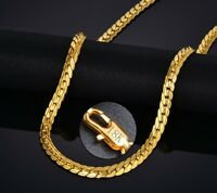 18k Yellow Gold Men's Women's Wide Cuban Link Chain Necklace + GiftPkg D517G