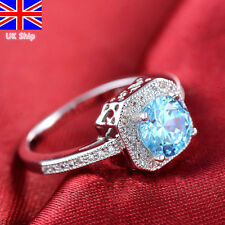 925 Sterling Silver Blue Diamond Engagement Wedding Ring Lady Women Jewelry Ring