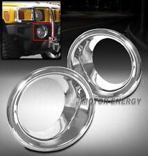 06-10 HUMMER H3 BUMPER FOG LIGHT TRIM BEZEL COVER RING CHROME LEFT+RIGHT 2PC NEW