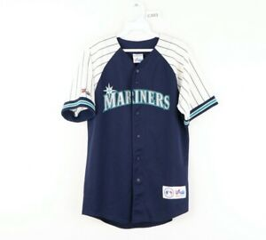 Vtg 90s Majestic Mens Small Seattle Mariners Ken Griffey Jr Baseball Jersey USA