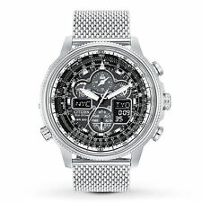 New Citizen Eco-Drive Navihawk Chrono AT Mesh Bracelet Men's Watch JY8030-83E