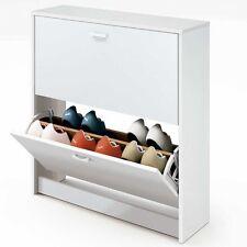 Armario mueble zapatero color blanco de 2 puertas doble balda de almacenamiento