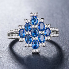 Women 925 Silver Fashion Jewelry Oval Cut Blue Sapphire Wedding Ring Size 6