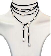 Choker Halskette Süßwasserperlen Halsband Collier Gothic Blogger Kropfband 190cm