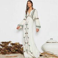 Vintage hippie Women Emroidery  V Neck Long Sleeve Maxi Dresses Boho Chic