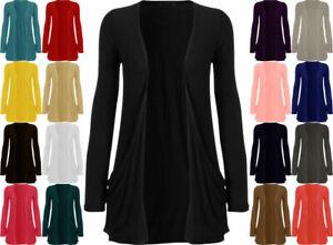 Womens Ladies Long Sleeve Boyfriend Open Cardigan With Pockets Plus Sizes 8-26