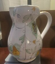 """rare find Vintage cantagalli firenzi hand thrown/painted ceramic pitcher 8"""" x 8"""""""