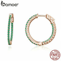 BAMOER Authentic 925 Sterling silver Earrings Green style With AAA CZ For Women