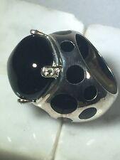 Designer Sterling Silver Ladybug Ladies Ring Black Stone & CZs Size 6.5 - 11 gr